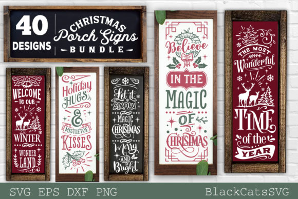 Christmas Porch Signs Bundle SVG Graphic Item