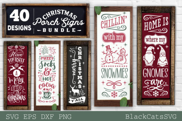 Christmas Porch Signs Bundle SVG Graphic Preview