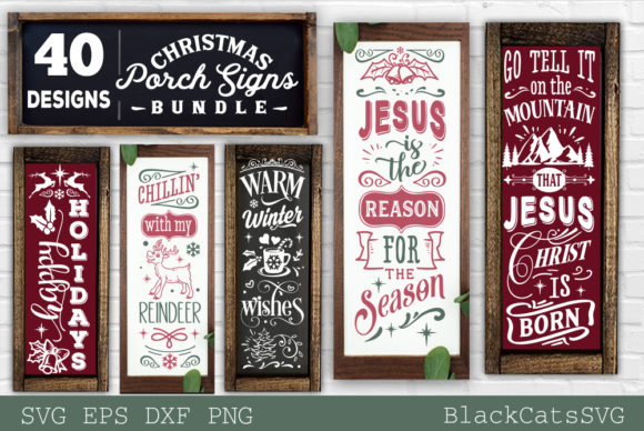 Christmas Porch Signs Bundle SVG Graphic Image