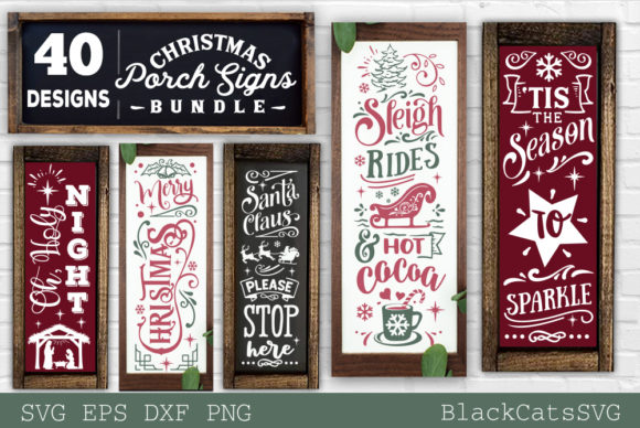 Christmas Porch Signs Bundle SVG Graphic Design Item