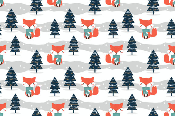 Cute Fox in Christmas Theme Graphic Patterns By thanaporn.pinp
