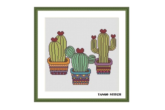 Funny Cactuses Easy Cross Stitch Pattern Graphic Cross Stitch Patterns By Tango Stitch