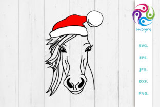 Print on Demand: Horse with Christmas Hat Svg File Graphic Crafts By Sintegra