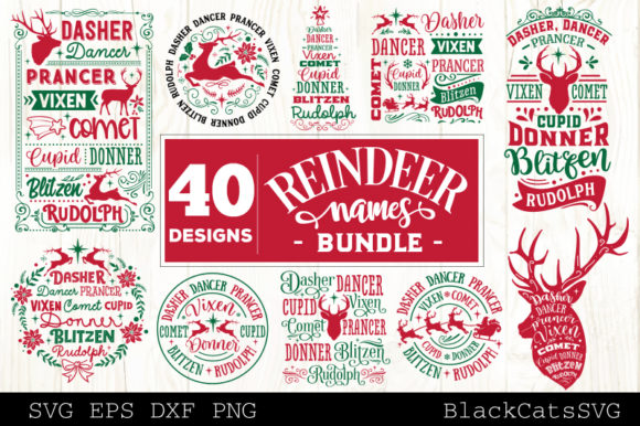 Print on Demand: Reindeer Names Bundle 40 Designs SVG Grafik Plotterdateien von BlackCatsMedia