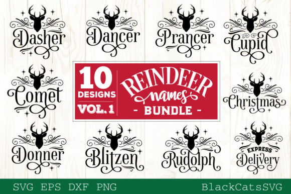 Reindeer Names Bundle 40 Designs SVG Graphic Download