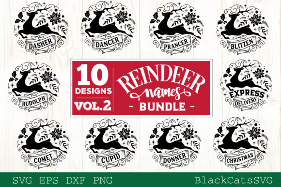 Reindeer Names Bundle 40 Designs SVG Graphic Design