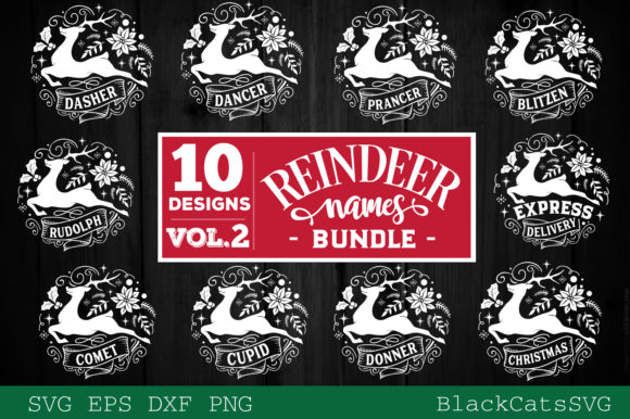 Reindeer Names Bundle 40 Designs SVG Graphic Preview