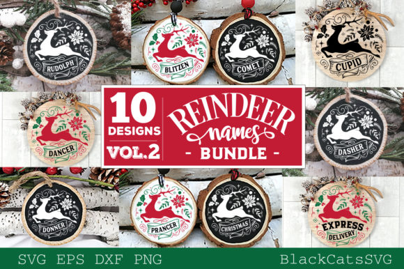 Reindeer Names Bundle 40 Designs SVG Graphic Image