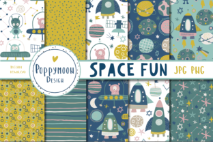 Print on Demand: Space Fun Paper Set Graphic Patterns By poppymoondesign