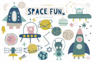 Print on Demand: Space Fun Clipart Set Gráfico Ilustraciones Por poppymoondesign