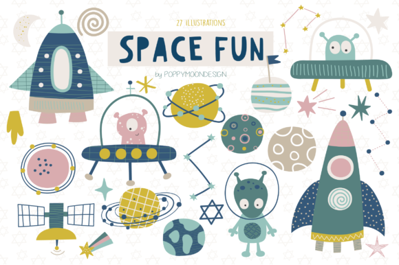 Print on Demand: Space Fun Clipart Set Graphic Illustrations By poppymoondesign