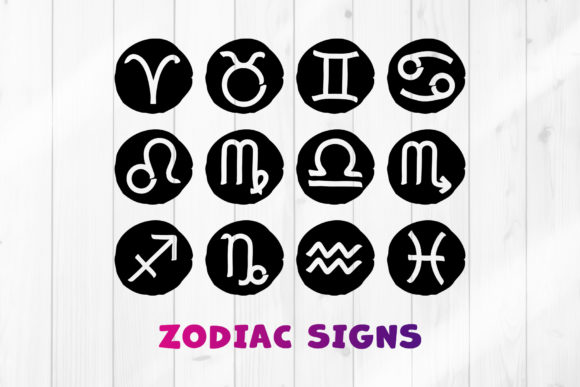 Print on Demand: Zodiac Signs Clipart SVG Bundle Graphic Crafts By DTCreativeLab