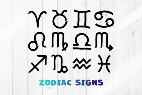 Print on Demand: Zodiac Signs SVG Clipart Set Graphic Crafts By DTCreativeLab