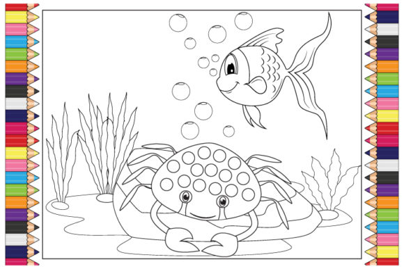 Print on Demand: Coloting Cute Sea Animal for Kids Graphic Coloring Pages & Books By curutdesign