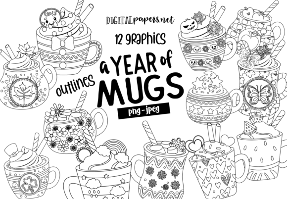 Print on Demand: A Year of Mugs Outlines Graphic Illustrations By DigitalPapers