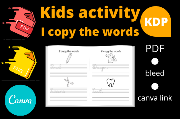 Print on Demand: Activity Book I Copy the Words for KDP Graphic KDP Interiors By Dunkyshot
