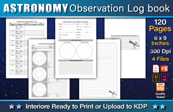Astronomy Observation Log Book Graphic KDP Interiors By okdecoconcept