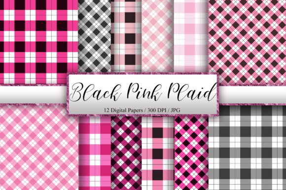 Black Pink Plaid Digital Papers Graphic Backgrounds By PinkPearly