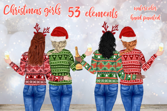 Christmas Girls Clipart Mug Designs Graphic Illustrations By LeCoqDesign