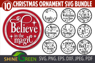 Print on Demand: Christmas Ornament Bundle Monogram Round Graphic Crafts By ShineGreenArt