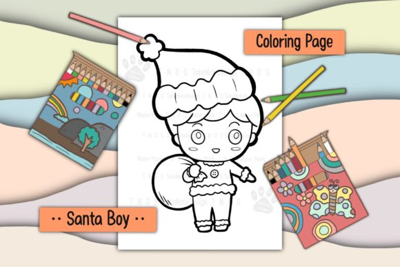 Christmas Santa Boy Graphic Coloring Pages & Books Kids By TakeNoteDesign