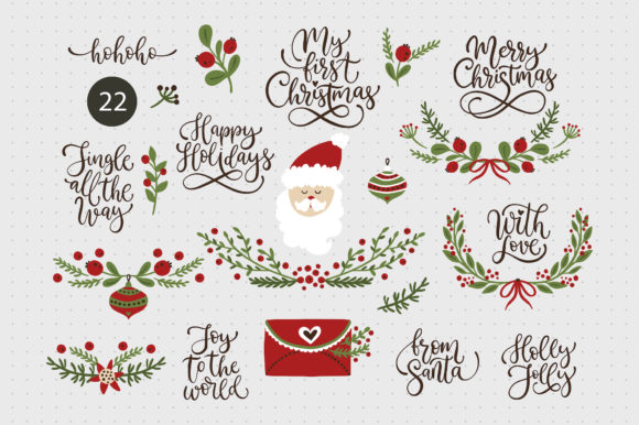 Print on Demand: Christmas Lettering & Christmas SVG Set. Graphic Illustrations By billcreativestore