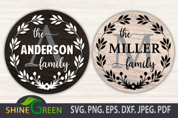 Print on Demand: Floral Family Monogram Frame Round Sign Graphic Crafts By ShineGreenArt