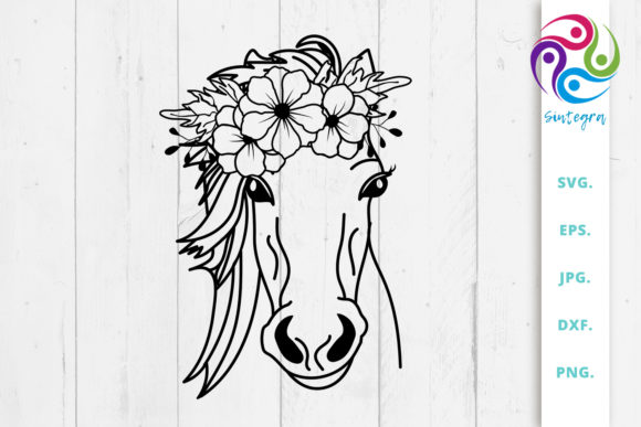 Print on Demand: Floral Horse Svg File Graphic Crafts By Sintegra