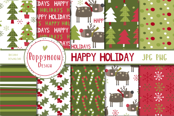 Print on Demand: Happy Holidays, Christmas Papers Graphic Patterns By poppymoondesign