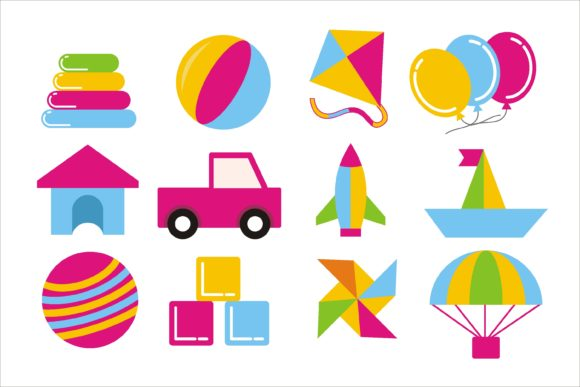 Print on Demand: Kids Toys Set Graphic Illustrations By edywiyonopp