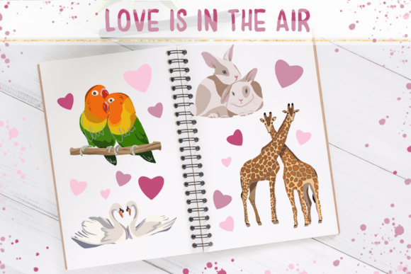 Love is in the Air - Clip Art Set Graphic Illustrations By tatibordiu