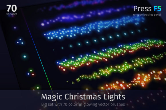 Magic Christmas Lights Graphic Brushes By Voysla's Shop