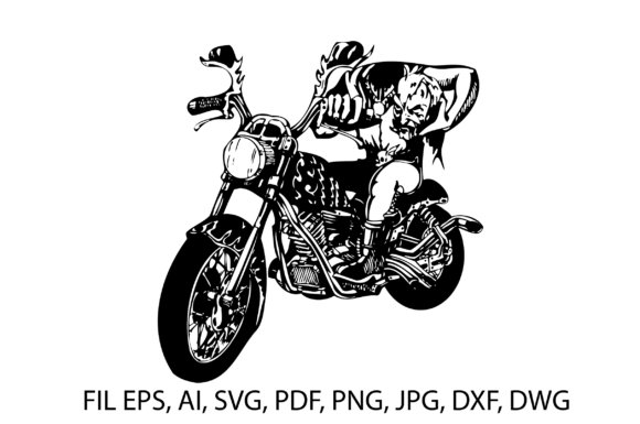 Print on Demand: Motorbike Ghost Desaign Illustration Graphic Illustrations By nisakaart