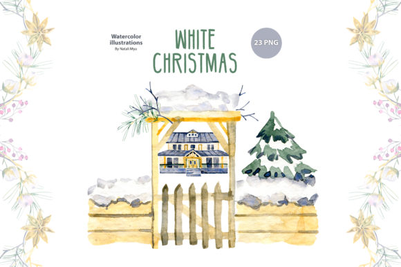 Watercolor White Christmas Graphic Illustrations By NataliMyaStore