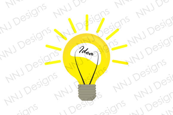 Print on Demand: Yellow Light Bulb Idea Lightbulb Clipart Graphic Illustrations By NNJ Designs