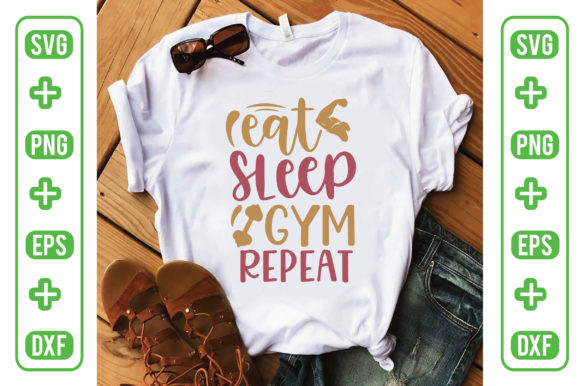 Eat Sleep Gym Repeat Graphic Crafts By Printable Store