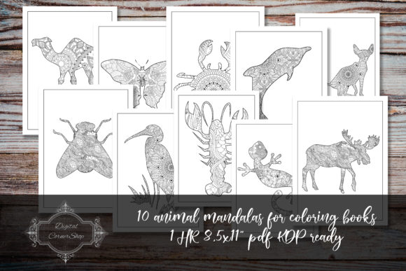 Print on Demand: 10 Animal Mandalas for Coloring Books 1 Graphic Coloring Pages & Books By digitalcornershop