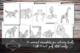 Print on Demand: 10 Animal Mandalas for Coloring Books 2 Graphic Coloring Pages & Books By digitalcornershop