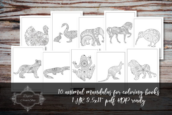 Print on Demand: 10 Animal Mandalas for Coloring Books 3 Graphic Coloring Pages & Books By digitalcornershop