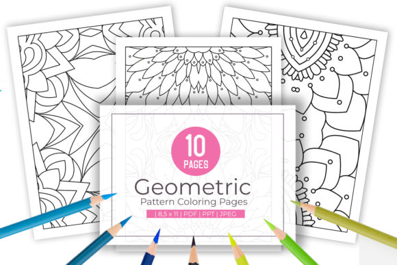 10 Fun Geometric Coloring Pages Graphic By Doridodesign Creative Fabrica