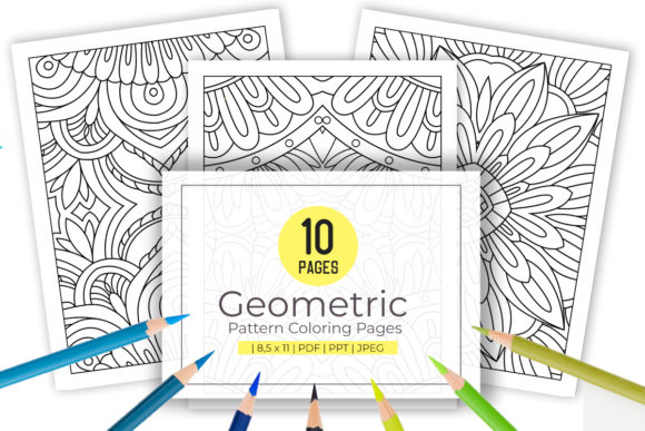 Print on Demand: 10 Stress Relief Pattern Coloring Pages Graphic Coloring Pages & Books Adults By doridodesign