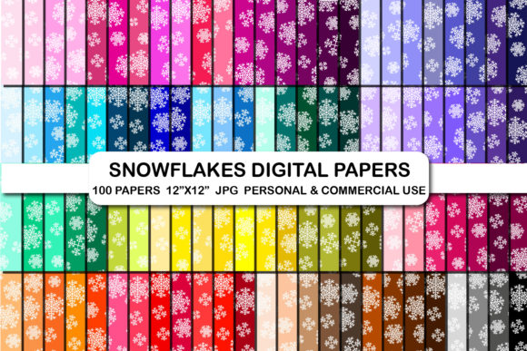 100 Snowflake Christmas Digital Papers Graphic Backgrounds By bestgraphicsonline