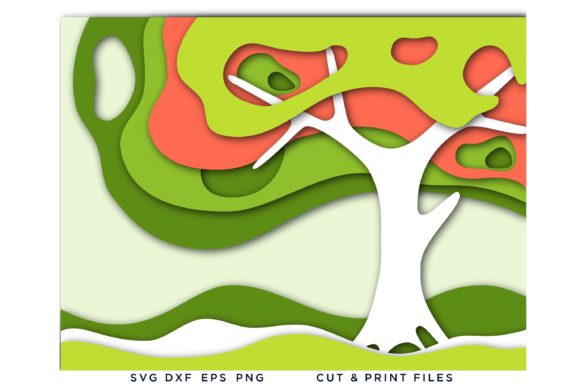 3D Tree Wave Depths Multi Color Layers Graphic 3D SVG By 2dooart