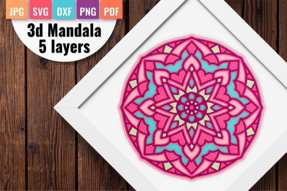 3d Layered Mandala Svg Wth 5 Layers Graphic 3D SVG By DoodleBox