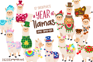 Print on Demand: A Year of Llamas Graphic Illustrations By DigitalPapers