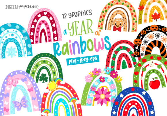 Print on Demand: A Year of Rainbows Graphic Illustrations By DigitalPapers