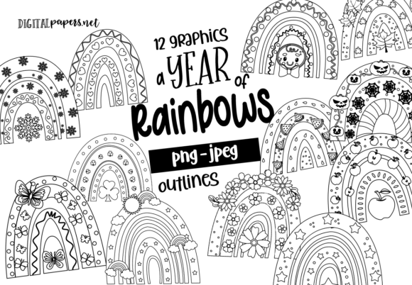 Print on Demand: A Year of Rainbows - Outlines Graphic Illustrations By DigitalPapers