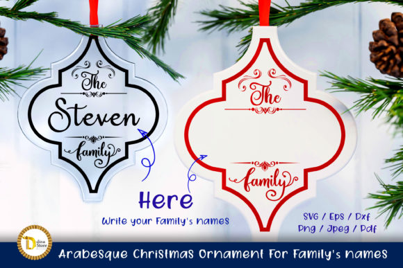 Arabesque Christmas Ornament for Family' Graphic Crafts By dina.store4art