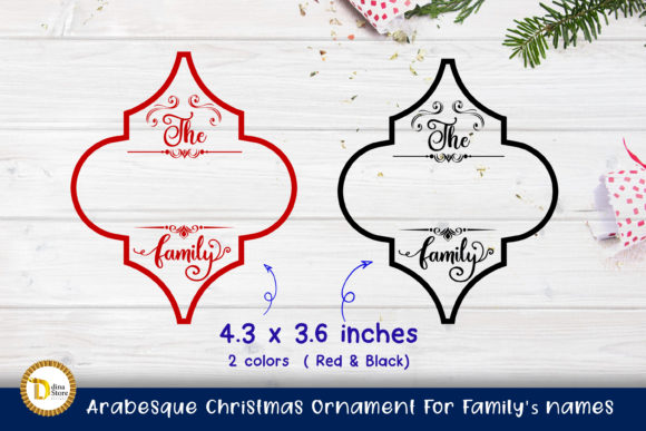 Arabesque Christmas Ornament for Family' Graphic Download
