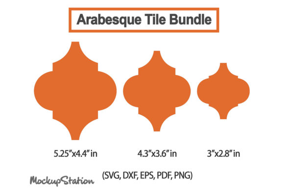 Print on Demand: Arabesque Tile SVG Bundle, Ornament DXF Gráfico Crafts Por Mockup Station